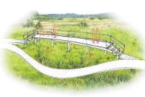 Návrh, jak by měla vypadat například pozorovací vyhlídka na stezce kolem rybníka.