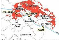 Červeně označená místa mají vhodný větrný potenciál 5 m/s ve výšce 140 m.