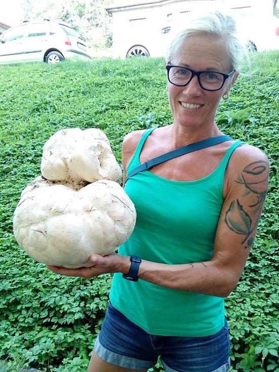 Eva Cieslarová si vyrazila se psem, odnesla si z lesa batoh plný hub, pýchavku obrovskou dostala jako dárek.