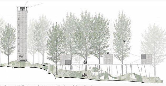 Model osady ve stromech.