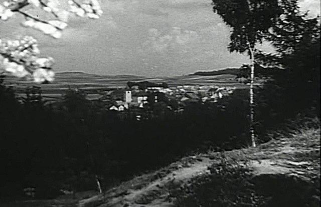 Pohled na Mirovice od vesnice Plíškovice. Dnes je tam krajina poněkud jiná, za 70 let tady narostl les.
