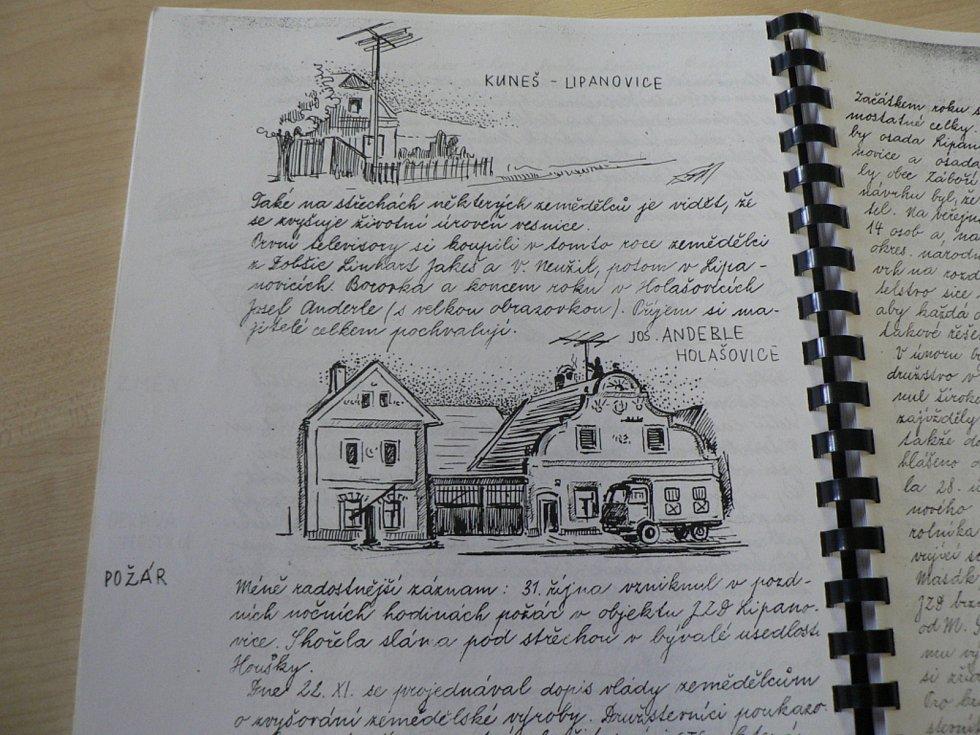 Kronikář Václav Čejka v letech 1945 až 1958 českou kroniku opatřil i umnými perokresbami.