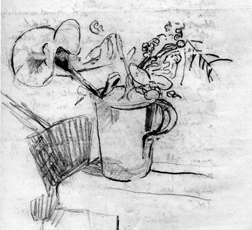 Vknize Ostnaté vzpomínky vzpomíná malíř Karel Valter na nejhorší část svého života, nacistickou okupaci a své věznění vTáboře, Terezíně a Buchenwaldu. Na snímku kresba Kytky od Tebe, kterou nakreslil na druhou stranu obálky dopisu zvězení vTáboře.
