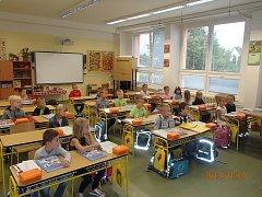 První školní den v ZŠ Ševětín. Nastoupilo sem 40 prvňáčků.