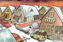 V Písku v pátek začíná setkání evropských karikaturistů. Přijede jich 14 z osmi zemí. Lidé se mohou zapojit zítra v areálu Sladovny. Na snímku vtip Jiřího Koštáře.