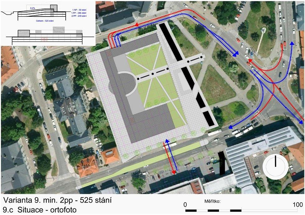 Rampa by mohla v budoucnu vést do nových podzemních garáží na českobudějovickém Senovážném náměstí. Nad zemí by objekt mírně přesáhl nynější parkoviště.