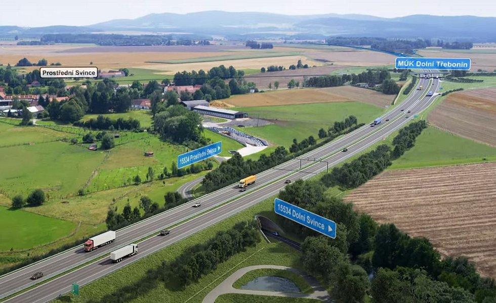 Vizualizace D3. Dálnice vede mezi Prostředními a Dolními Svinci.
