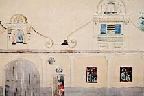 Akvarel zachycující práci Jakuba Bursy v obci Jiřetice, který byl součástí výstavy v muzeu ve Volyni.