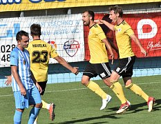David Ledecký se v zápase s Prostějovem raduje ze svého gólu na 1:0.