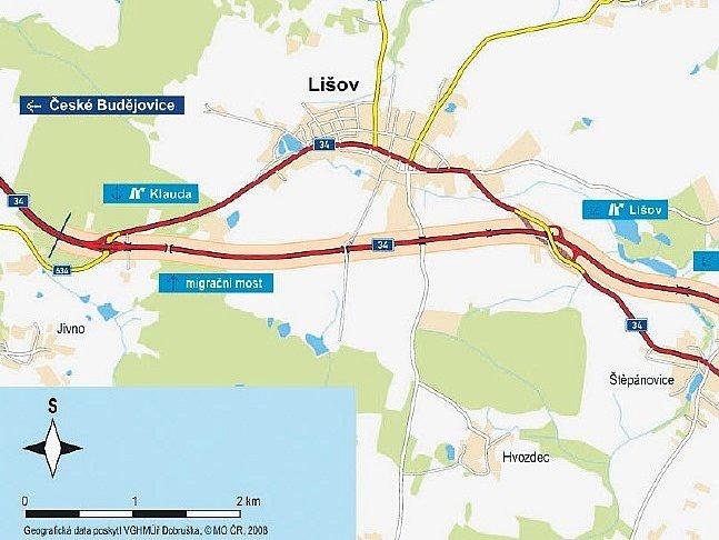 Přeložka kolem Lišova a Štěpánovic by měla začínat v lokalitě Na Klaudě a vyústit u Vranína. Její součástí mají být i dvě mimoúrovňové křižovatky.