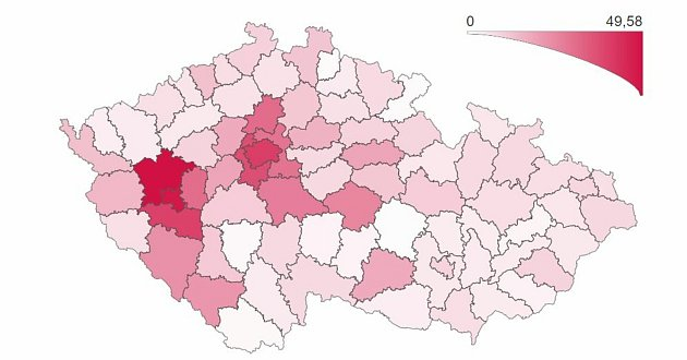 Počet osob spotvrzenou nákazou onemocněním COVID‑19 za posledních 7dní (celkem + přepočet na 100000obyvatel).