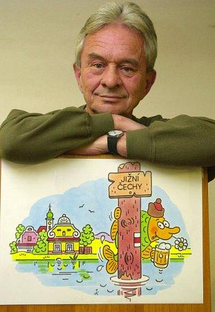 Jihočeské muzeum připomíná výstavou kreslíře Jaroslava Kerlese (1939 - 2014) a jeho práci pro Pohádkové království, pro něž vytvořil například postavu kapra Jakuba.