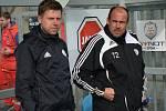 Fotbalisté Dynama v neděli hráli v lize doma s Pardubicemi (na snímku trenér David Horejš se svým asistentem Jiřím Lerchem).