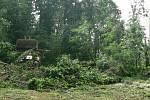 V noci na čtvrtek 24. 6. 2021 způsobila velké škody na Českobudějovicku další ze série bouřek. Na snímku odklízení padlých stromů z místní silnice mezi Dřítní a Kočínem, která byla zcela zatarasena.