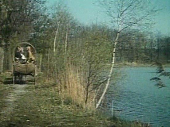 Záběr zfilmu Luk královny Dorotky na hrázi rybníků na Třeboňsku.