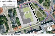 Rampa by mohla v budoucnu vést do nových podzemních garáží na českobudějovickém Senovážném náměstí. Nad zemí by objekt mírně přesáhl nynější parkoviště. Vizualizace: magistrát města České Budějovice