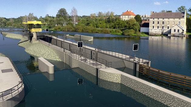Vizualizace podoby plavební komory na starém jezu v Hněvkovicích.