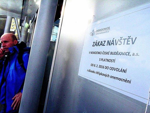 Do nemocnice v Českých Budějovicích nesměly kvůli riziku šíření chřipky návštěvy.