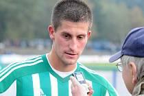 Michal Šmíd v Sezimově Ústí po zápase Táborska s Bohemians odpovídá na dotazy Deníku.