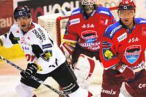 Hokejisté HC Mountfield hrají v pátek v dalším kole skupiny o extraligovou záchranu ve Znojmě. Na snímku z posledního vzájemného utkání na jihu Čech je obránce Milan Toman (vpravo) v souboji se znojemským Davídkem, v pozadí přihlíží brankář Roman Turek.
