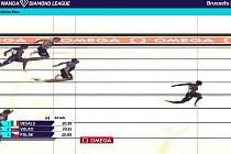 Doběh na 200 m v Bruselu.