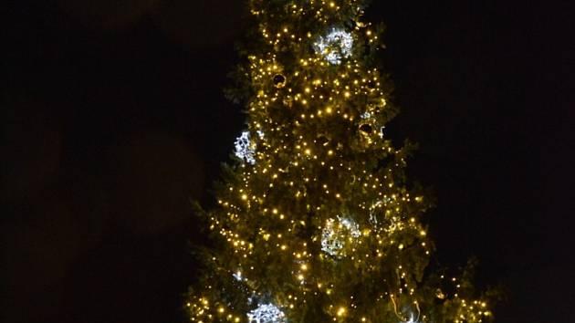 V neděli rozsvítili vánoční stromek také na náměstí v Hluboké nad Vltavou.