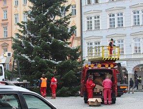 Výzdoba vánočního stromu v Českých Budějovicích