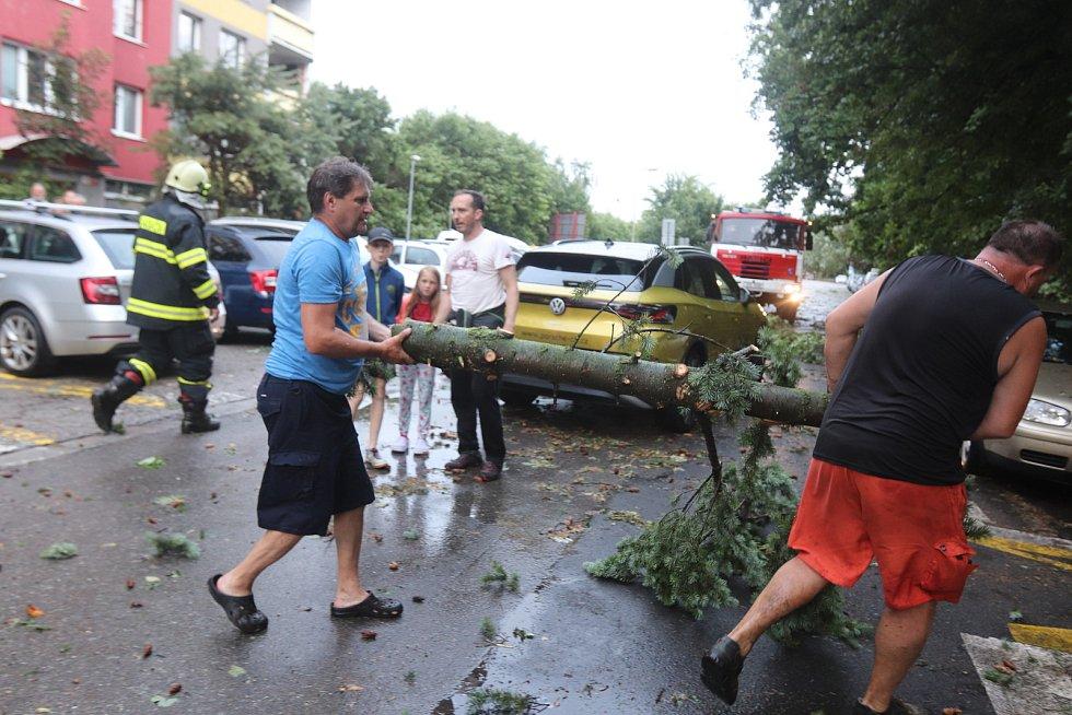 Důsledky bouře v Českých Budějovicích v Průběžné ulici, kde spadlo několik stromů a hasiči a místní odklízeli větve.