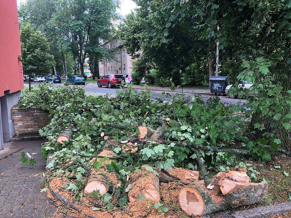 Následky pondělní bouřky na Pražském předměstí v Českých Budějovicích.