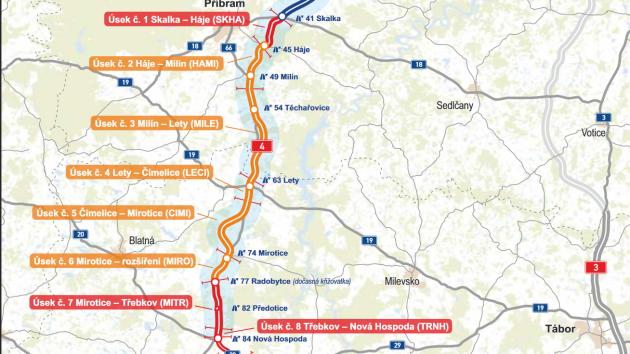 Mapa dostavby dálnice mezi Příbramí a Pískem.