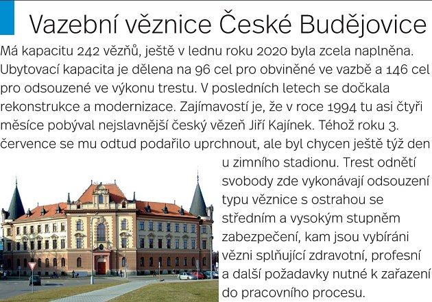 Vazební věznice vČeských Budějovicích je vybavena vycházkovým dvorem, knihovnou, vlastní zubní ordinací ikulturní místností.