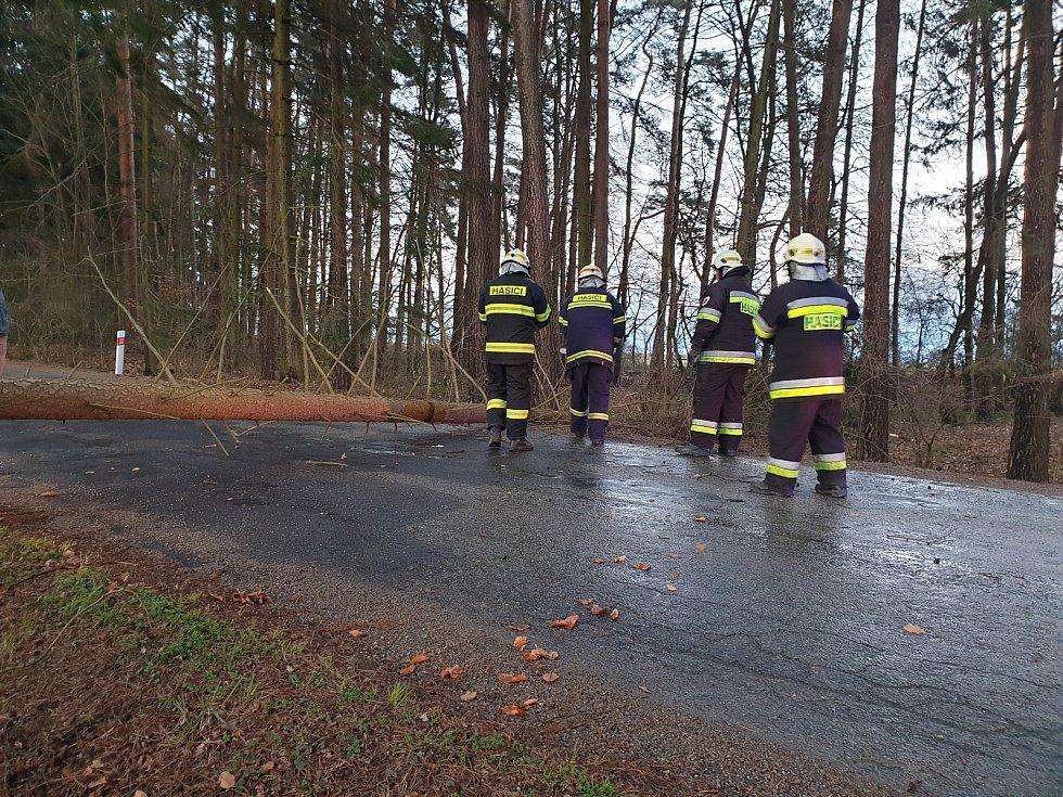 Hasiči zasahovali u popadaných stromů přes cestu v Dolním Bukovsku.