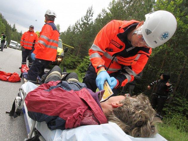 Na archivním snímku z loňska trénují jihočeští zdravotníci záchranu osob při pádu letadla.