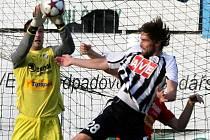 Jedna z výjimečných situací: plzeňský brankář Michal Daněk, jenž v nedělní lize v Č. Budějovicích nemusel chytat jedinou přímou střelu, zasahuje po centrovaném míčí před domácím Tomášem Sedláčkem.