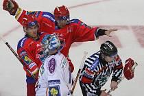 První čtvrtfinále: HC Mountfield České Budějovice – Geus Okna Kladno 2:0 (2:0, 0:0, 0:0)