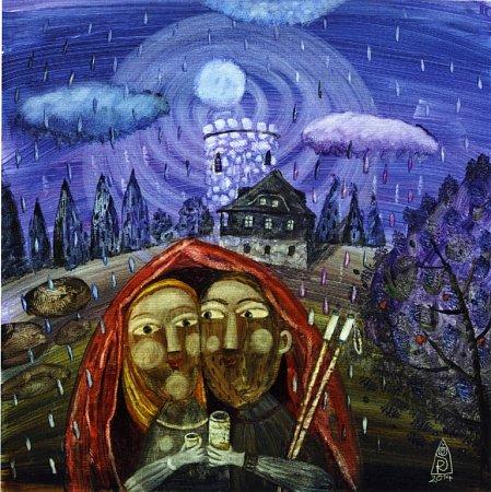Pláštěnka pro dva. Malířka Renata Štolbová maluje Kleť ispolečenství lidí, kteří kní putují nebo pod ní žijí.