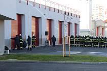 Otevření nových garáží českobudějovických hasičů v roce 2020.