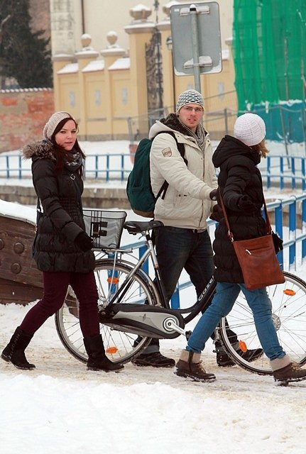 Sníh v Českých Budějovicích 27. ledna.