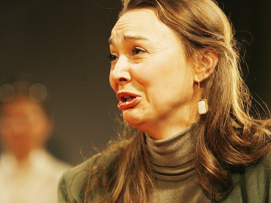 Herečka Lenka Krčková jako Veronika ve hře Bůh masakru, Jihočeské divadlo, 2009.