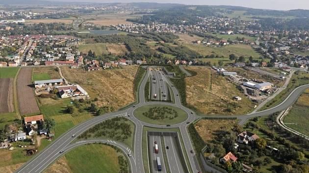 V lokalitě Pohůrka u Českých Budějovic se má dálnice D3 (na vizualizaci) schovat pod zem v tunelu. Ten vyústí až za Dobrovodskou silnicí, vedoucí mezi Budějovicemi a Dobrou Vodou. Komunikace tam má vést i pod Dobrovodským potokem.