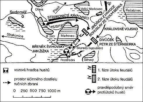 Mapka bitevní situace na rybnících u Sudoměře.