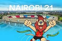 Maskot šampionátu v Nairobi.