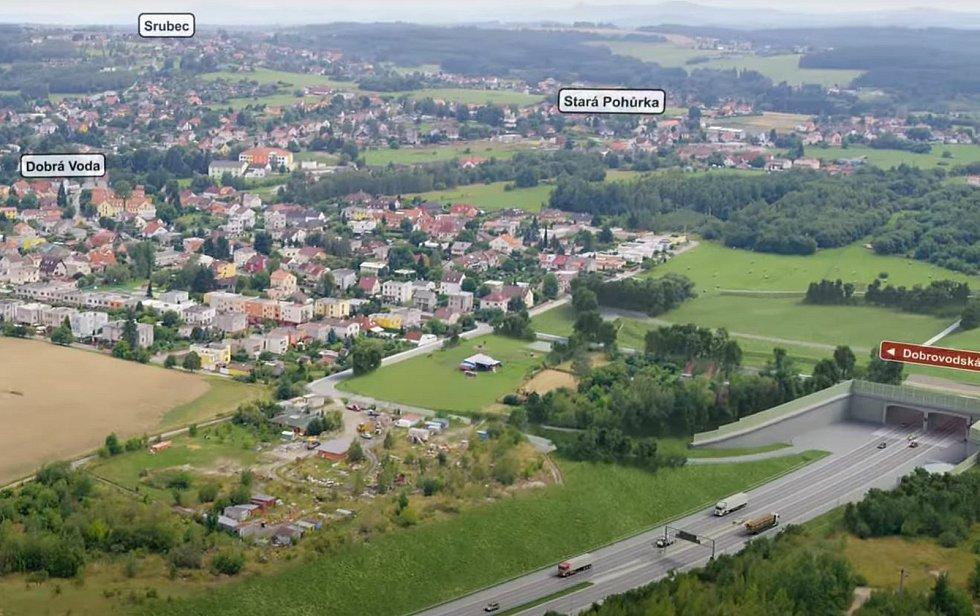 Vizualizace D3. Pod Dobrovodskou ulicí začíná tunel Pohůrka dlouhý 999,5 m.