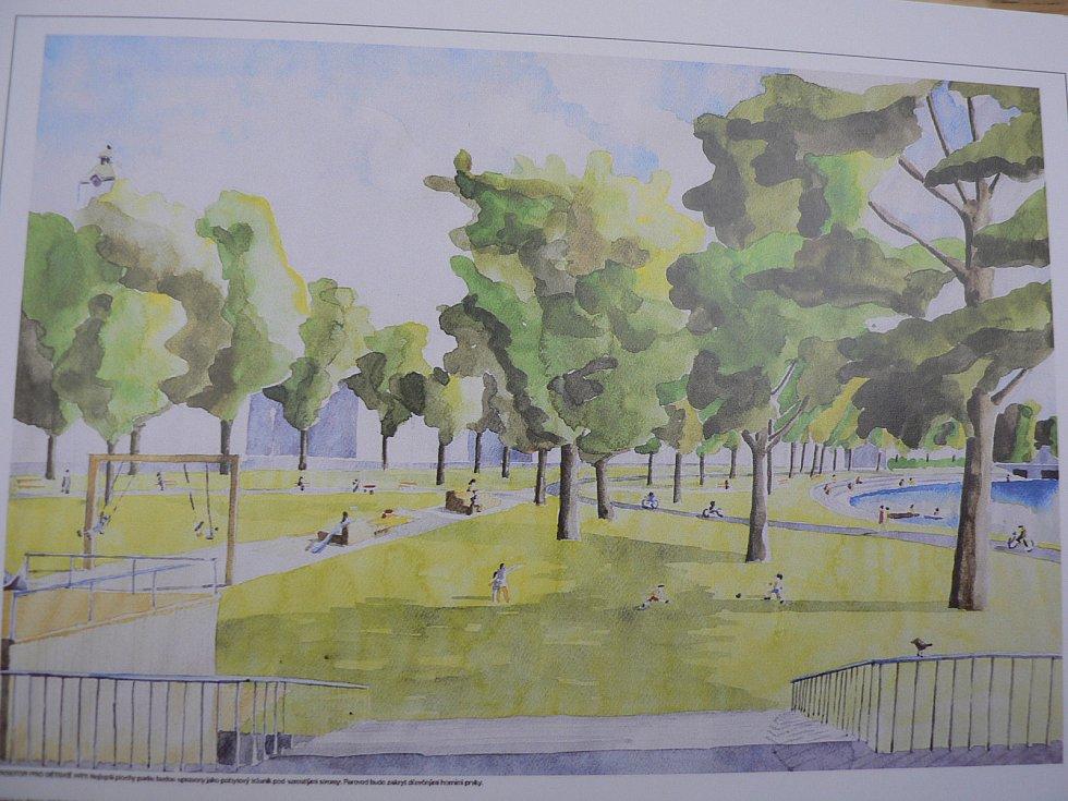 Vítězný návrh podaný do architektonické soutěže na novou podobu parku Dukelská v Českých Budějovicích. Autor: Ateliér RUSINA FREI