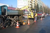 Havárie vodovodního řadu v Opletalově ulici.