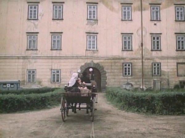 Bryčka, kterou řídí Karel Hlušička, přiváží malého pacienta do nemocnice. Tu filmaři umístili do areálu protivínského zámku.