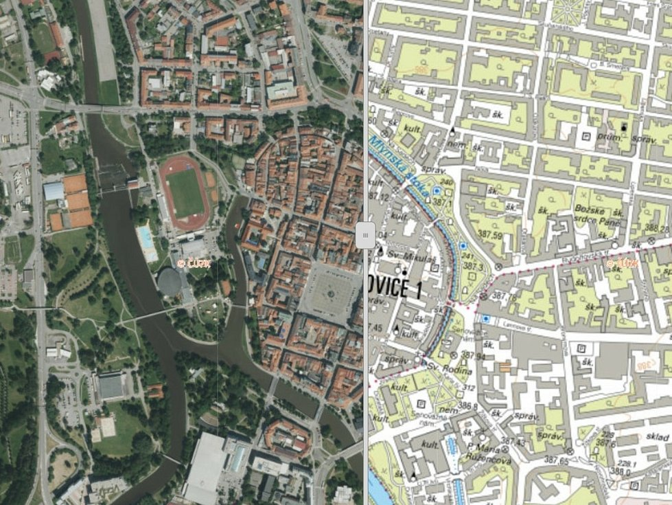 Na Geoportálu Jihočeského kraje najdete také krajské ortofotomapy a místopisné mapy, na snímku jsou České Budějovice.