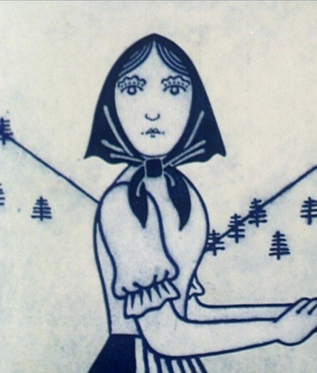 Animované filmy, které natočil Jiří Brdečka (1917 - 1982), přináší nové, třídílné DVD. Snímek z filmu Moravské lidové balady: Zbojníkova žena.