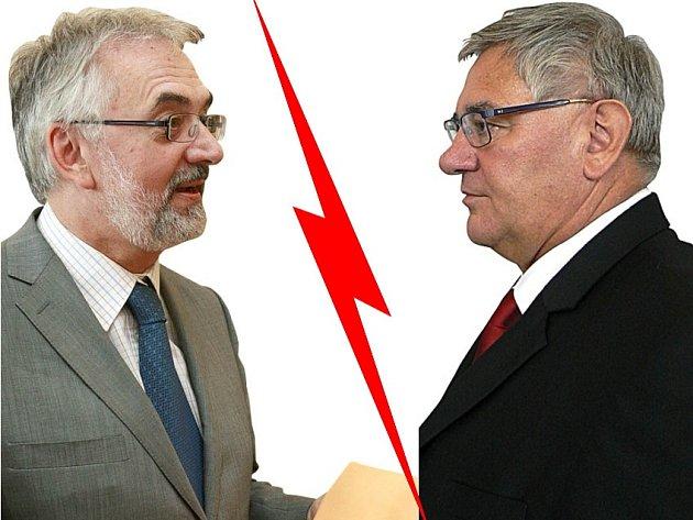 Kandidáti na rektora Jihočeské univerzity - Libor Grubhoffer a Miloslav Šoch.
