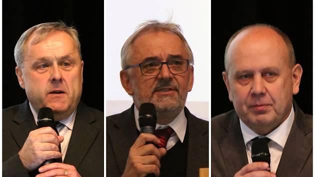 Tři kandidáti na rektora Jihočeské univerzity. Zleva Václav Bůžek, Libor Grubhoffer a Dalibor Štys.